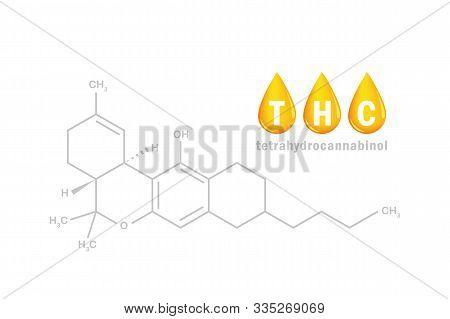 Thc Oil Tetrahydrocannabinol Chemical Formula With Drop Vector Illustration Eps10