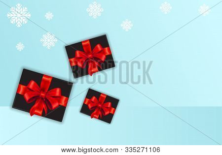 Gift Box. Gift In Realistic On White Background. Happy New Year Decoration. Collection For Birthday,