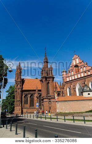 Vilnius, Lithuania - May 20, 2017: St Annes And Bernadines Churches In Vilnius Lithuania On Sunny Da
