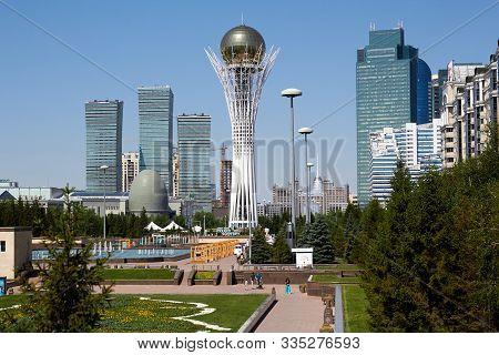 Kazakhstan, Nursultan, 05.07.2019. High Tower Baiterek Sphere Attraction Of The City Of Nursultan (a