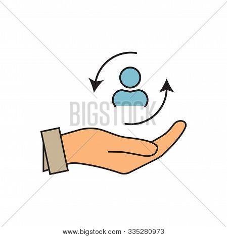 Care Customer Icon, Total Inclusive Service, Lsymbol On White Background - Editable Stroke Vector Il
