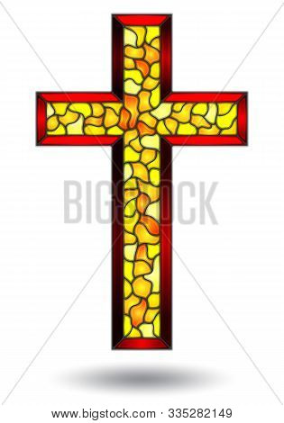 The Illustrations In The Stained Glass Style With Of Christian Cross ,isolated N A White Background
