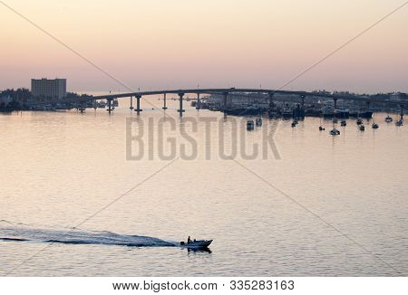 The View Before The Sunrise Of Nassau Harbour And The Bridge Connecting Nassau City On New Providenc
