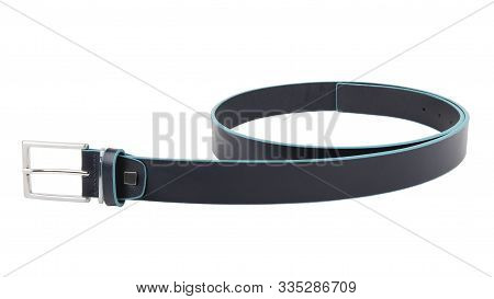 New Black Blue Leather Belt With A Nickel Buckle. Without Shadows. Isolated On White Background
