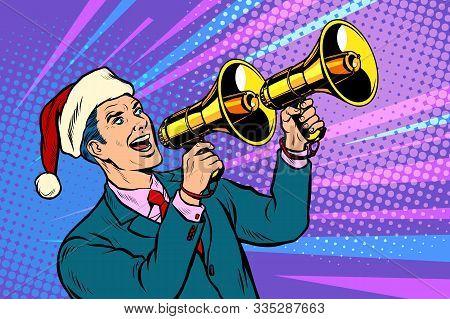 Christmas Sale. Businessman Advertises With Megaphone. Pop Art Retro Vector Illustration Kitsch Vint