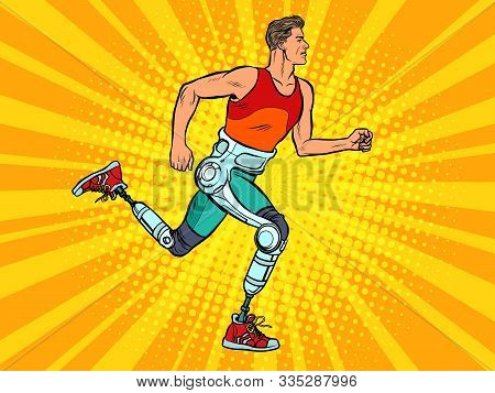 Disabled Man Running With Legs Prostheses. Pop Art Retro Vector Illustration Vintage Kitsch 60s 50s