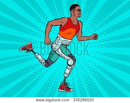 Disabled African Man Running With Legs Prostheses. Pop Art Retro Vector Illustration Vintage Kitsch