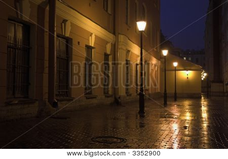 Back Yard With Street Lamps