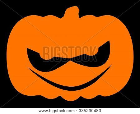 Evil Halloween Pumpkin With Grin In Silhouette