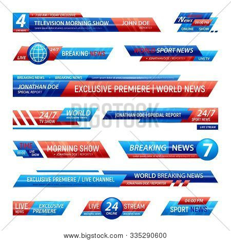 Breaking News Television Channel Broadcasting Set Of Isolated Solid Plates For Vfx Bars With Editabl