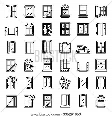 Window Installation Icons Set. Outline Set Of Window Installation Vector Icons For Web Design Isolat