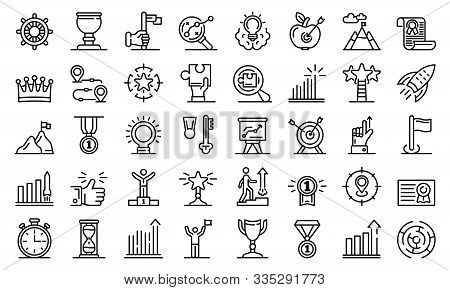 Goal Achievement Icons Set. Outline Set Of Goal Achievement Vector Icons For Web Design Isolated On
