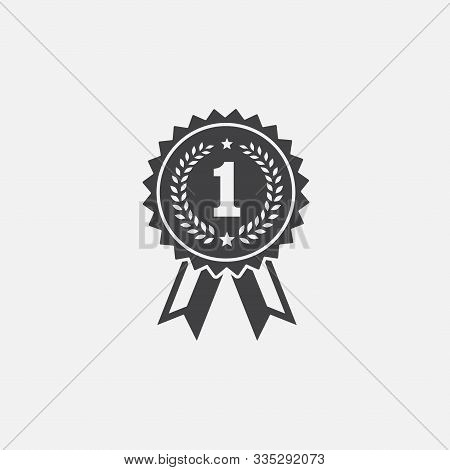 Solid Medal Vector Icon, Medal Badge Vector, Medal With Ribbon, Olive Branch, Award Ribbon Icon, Sym
