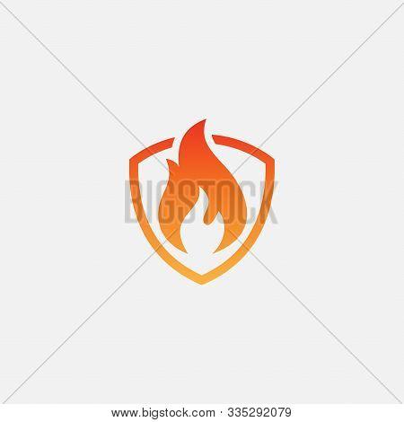 Fire Shield Logo Design Vector Template, Shield Fire Logo Concept, Fire Shield Icon Symbol, Fire Pro