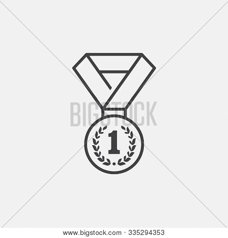 Medal Logo Template Vector Illustration Icon Design In Linear Style, Medal For First Place Icon, Med