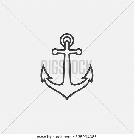 Anchor Vector Logo Icon In Linear Style, Nautical Maritime, Sea Ocean Boat Illustration Symbol, Anch