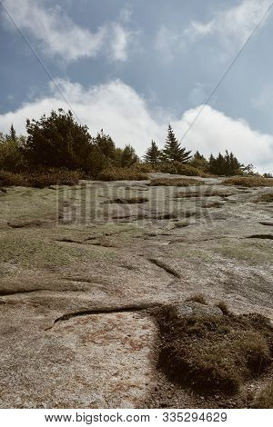 Hiking In Acadia National Park Along Granite Bedrock Of Cadillac Mountain On A Cool Fall Day.