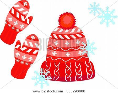 Red Hat With A Pompom And Mitten Set Winter Accessories. Illustration