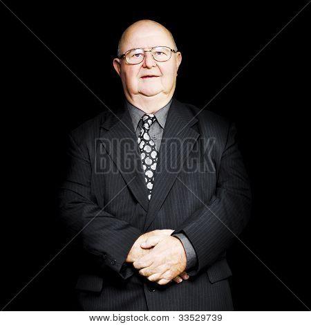 Senior Business Man Isolated On Black Background