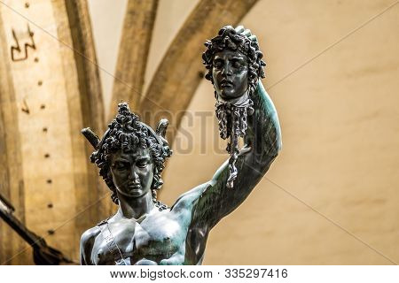 Bronze statue of Perseus holding the head of Medusa in Florence, made by Benvenuto Cellini in 1545 poster