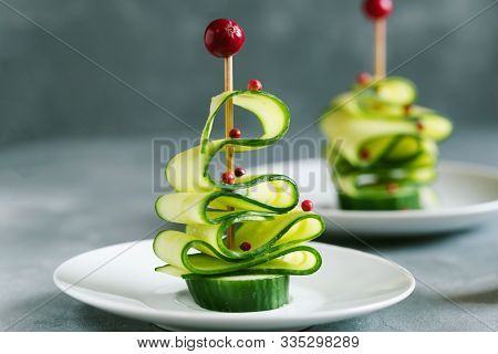 Cucumber Christmas Tree, Funny Food For Kids. Christmas Food Background.