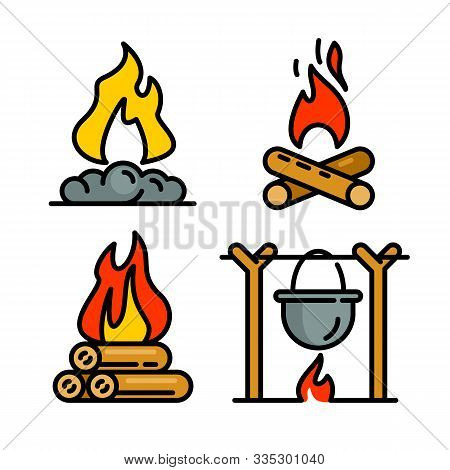 Campfire Icons Set. Outline Set Of Campfire Vector Icons For Web Design Isolated On White Background
