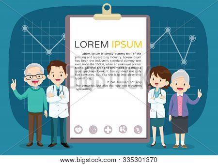 Doctor And Elderly Healthcare Clipboard Background Poster.doctor For Elderly Patients Banner