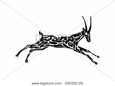 Antelope Animal Decorative Vector Illustration Painted By Ink, Hand Drawn Grunge Cave Painting, Blac