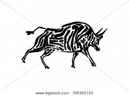 Bison Animal Decorative Vector Illustration Painted By Ink, Hand Drawn Grunge Cave Painting, Black I