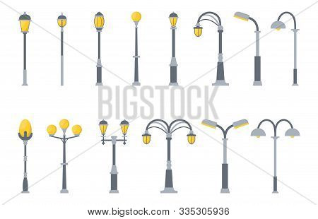 Set Of Street Lights Cartoon Isolated On White Background. Modern And Vintage Street Light. Elements