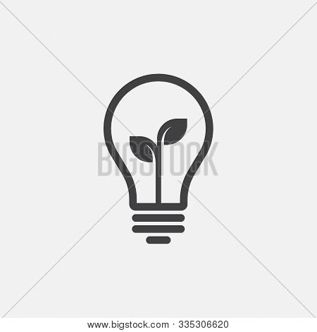 Vector Image Of Lamp And Leaf. Lightbulb Icon Design, Eco Lightbulb Linear Icon Vector, Idea Sign Ic