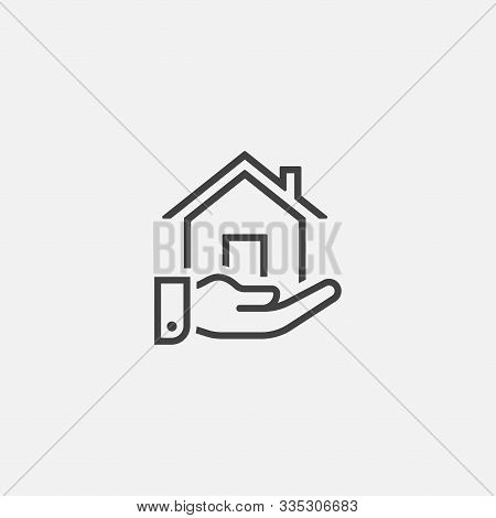 House Or Home Hand Gift Vector Icon In Linear Style, Home And Hand Vector Icon Illustration Sign, Ho