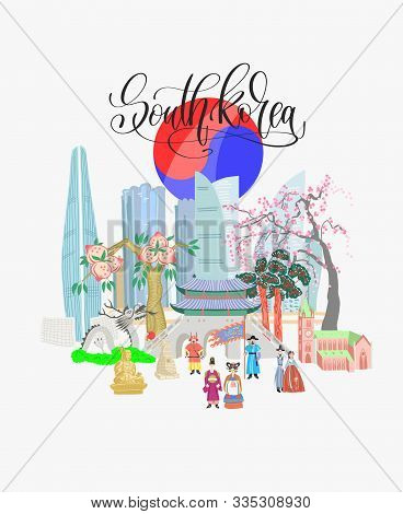Doodle Flat Vector Illustration Of South Korea Greeting Travel Card