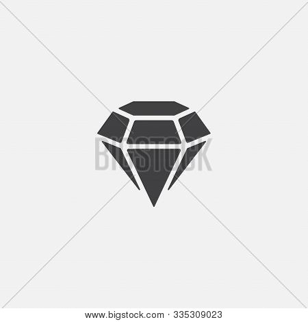 Diamond Icon Vector Symbol Illustration, Diamond Icon, Vector Flat Icon Of Diamond, Jewelry Symbol,