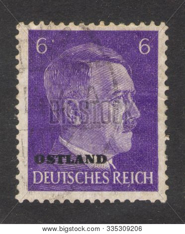 Saint Petersburg, Russia - November 17, 2019: Postage Stamp Issued In Germany With A Portrait Of Naz
