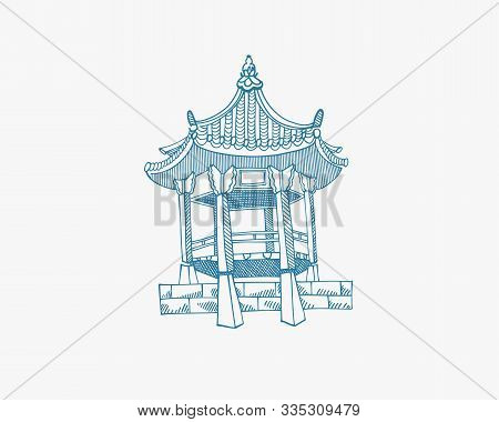 Illustration Of Gazebo From Namsangol Hanok Village, Seoul South Korea