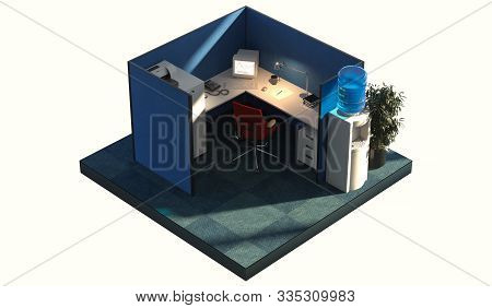 Modern Office Design Interior Room With Furniture In Cutaway. Office Cutaway. 3d Rendering. Day Time