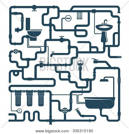 Water Pipe Plumbing System Compound Silhouette, Vector