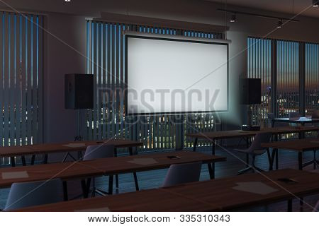 Projector Screen Canvas In Modern Conference Room With Big Windows And Turned On Projector. 3d Rende
