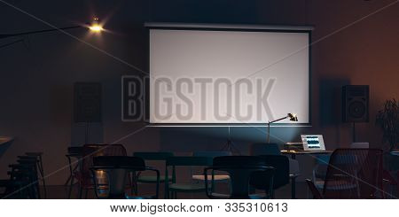 Projector Screen Canvas In Modern Cozy Cafe. 3d Rendering. Front View. Night Time. Close Up