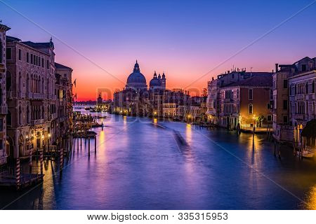 Sunrise In Venice. View From The Ponte Dell Accademia To The Grand Canal