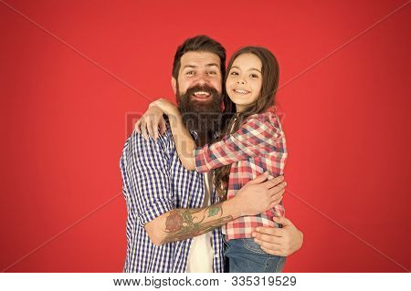 Nothing But Family. Happy Little Girl With Father. Little Child Love Her Dad. Fathers Day. Childrens