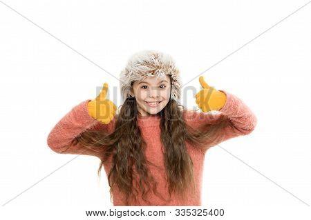 Faux Fur Trend. Playful Fashionista. Child Long Hair Soft Fur Hat Enjoy Softness. Soft Care Concept.