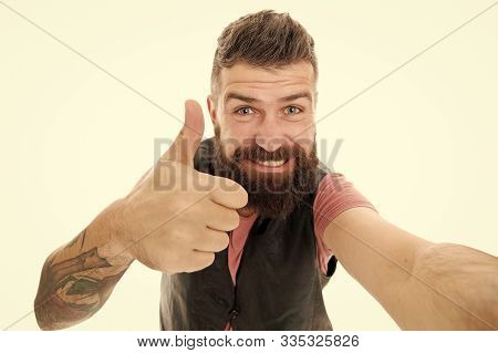 It Is Alright Just Wait And See. Styling Beard And Moustache. Fashion Trend Beard Grooming. Guy Expr
