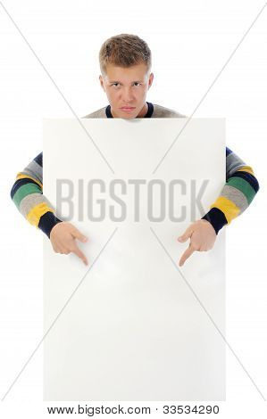 young man with a blank white card