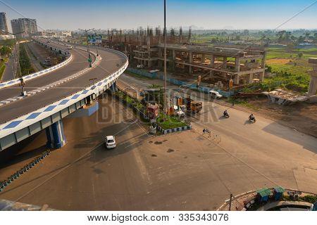 Kolkata, West Bengal, India - January 1st 2016 : View Of Traffic Below From Parama Island Flyover, P
