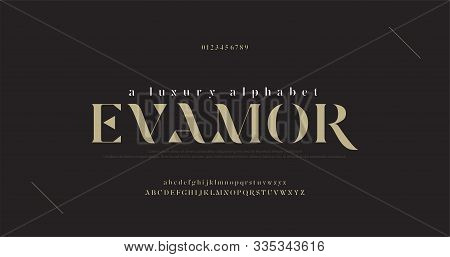 Elegant Luxury Alphabet Letters Font And Number. Classic Lettering Minimal Fashion Designs. Typograp