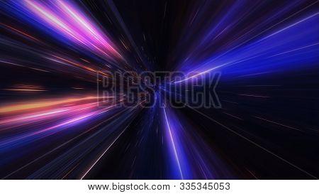 4k Motion Design. Flight Through The Lighting Space Tunnel. Wormhole