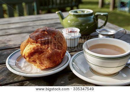 Mount Desert Island, Maine - September 28th, 2019:  Popovers With Jam And Earl Grey Tea At Jordan Ho