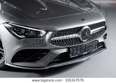 Novosibirsk, Russia - October 10, 2019:  Mercedes-benz Cla-class, Close-up Of The Headlight, Bumper,